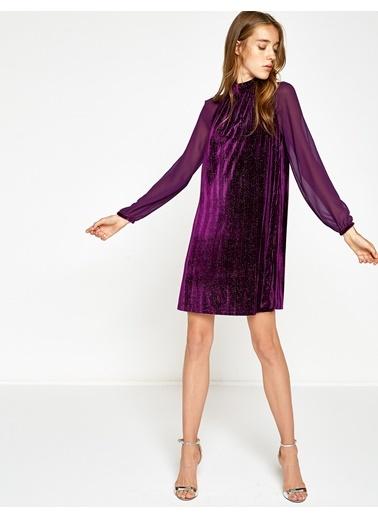 Şifon Kol Detaylı Abiye Elbise-Koton